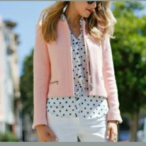 Zara Raw Edge Pink Zip Up Blazer Jacket